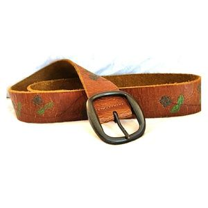 Lucky Brand Vintage Look Crackled Leather Belt S